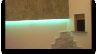 Podświetlana ściana  i murek